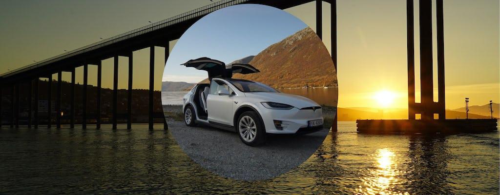 Private midnight sun tour in Tromsø in a TeslaX car