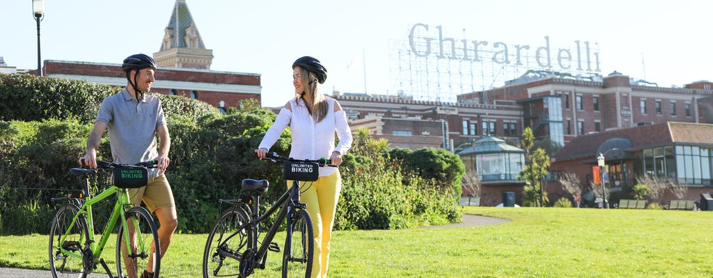 Golden Gate Bridge bike rental with route map