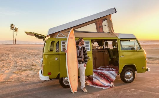 Malibu surf tour in a vintage VW camper van