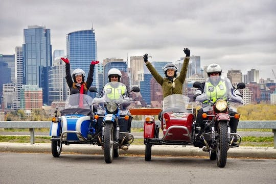 Vintage sidecar motorcycle sightseeing tour of Calgary