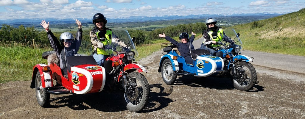 Vintage sidecar motorcycle tour of the Foothills region near Calgary