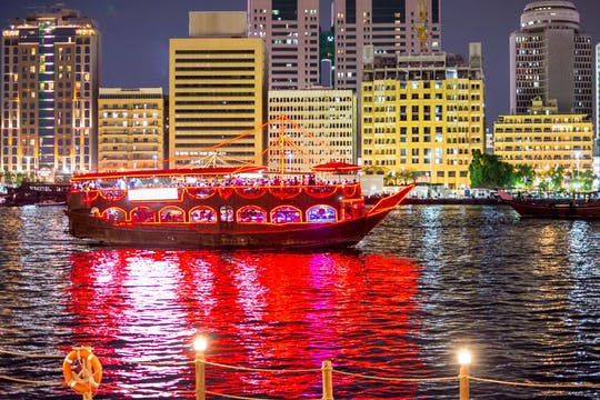 Dubai Creek dhow dinner cruise with pick-up from Sharjah