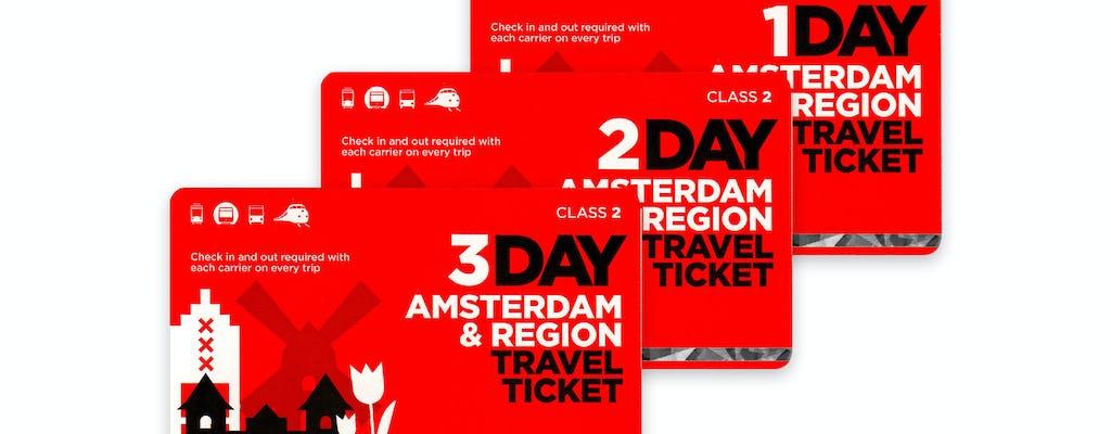 Bilhete de viagem para a região de Amsterdã para 1 a 3 dias