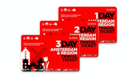 Amsterdam region travel ticket for 1 to 3 days