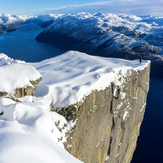 Day-tour to Lysefjorden and Pulpit Rock with a guide in Winter