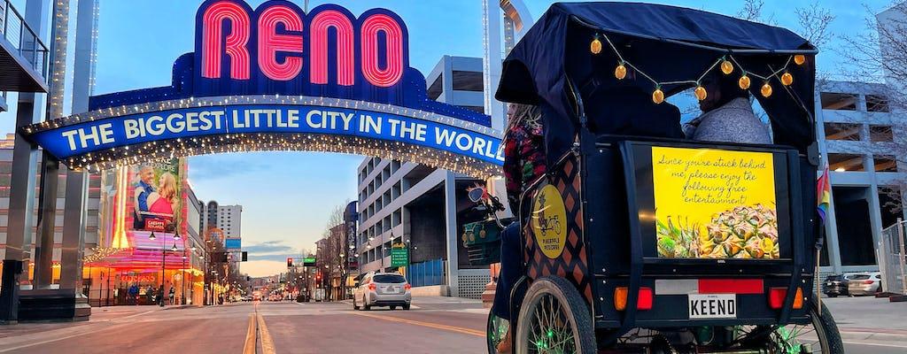 Passeio de pedicab mural no centro de Reno