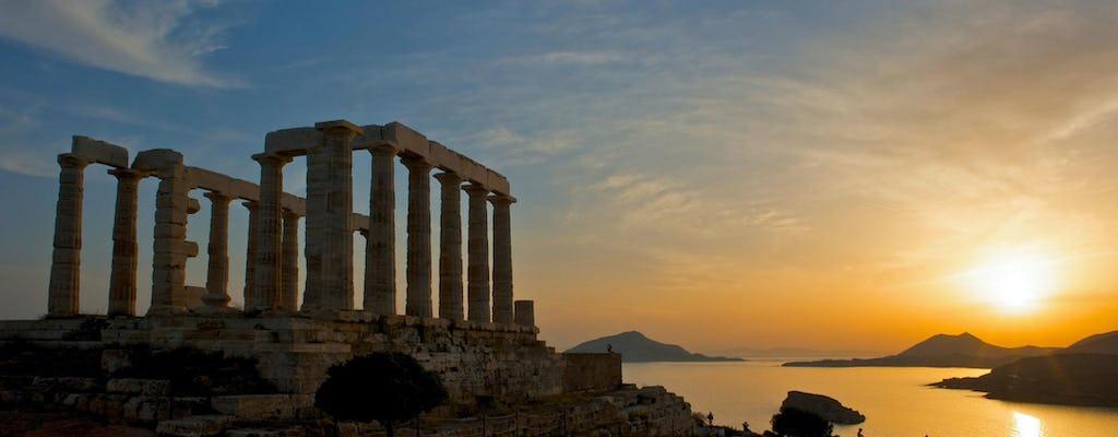 Schwimmen in der Ägäis und Sonnenuntergang in Sounio Führung