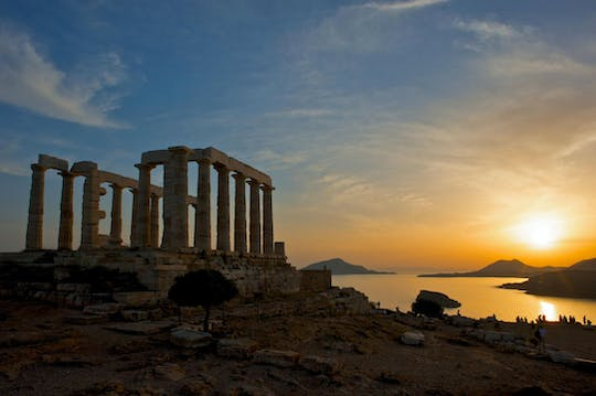 Swimming in the Aegean Sea and Sunset in Sounio guided tour