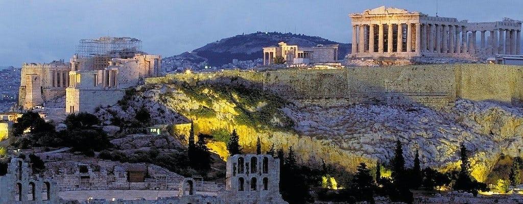Wandeltocht door de zonsondergang van Athene