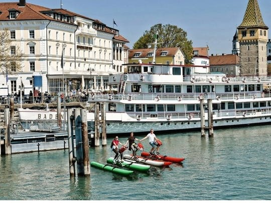 Guided water bike tour on Lake Constance to Fischbach