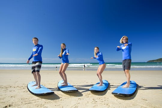 Surfing lesson for beginners at Anglesea