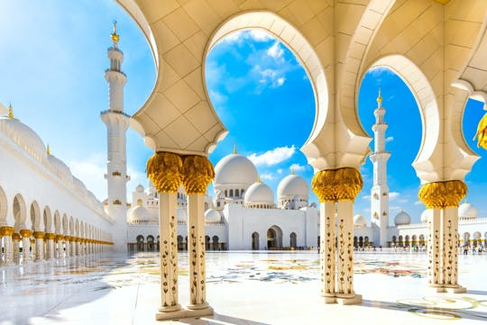 Abu Dhabi Mosque and Ferrari World from Abu Dhabi