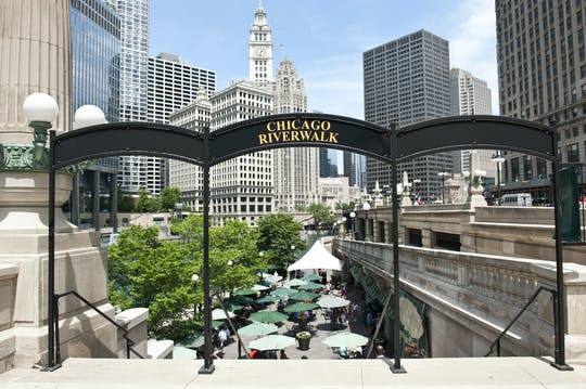 Guided tour of Riverwalk, the birthplace of Chicago
