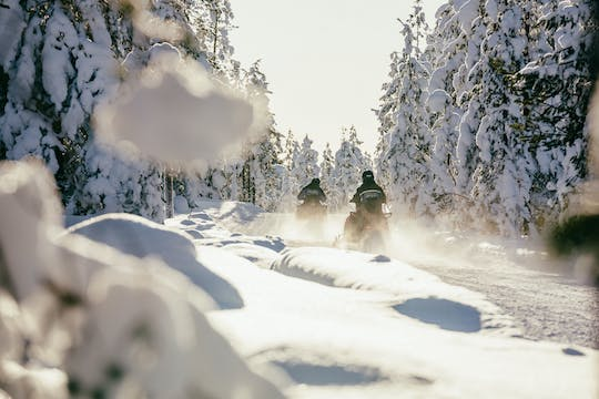 Half-day long-distance snowmobiling in Levi