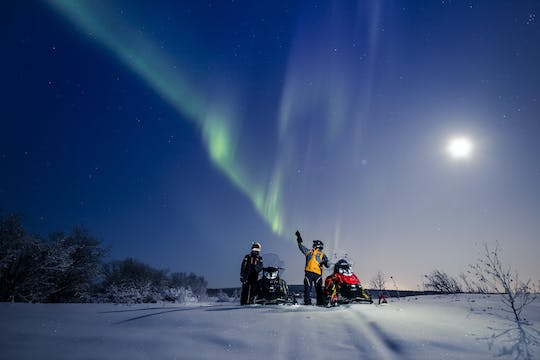 Levi northern lights tour by snowmobile with campfire BBQ