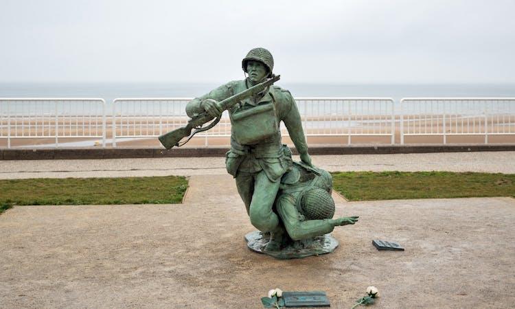 Soldier statue memorial. Omaha beach, France..jpg