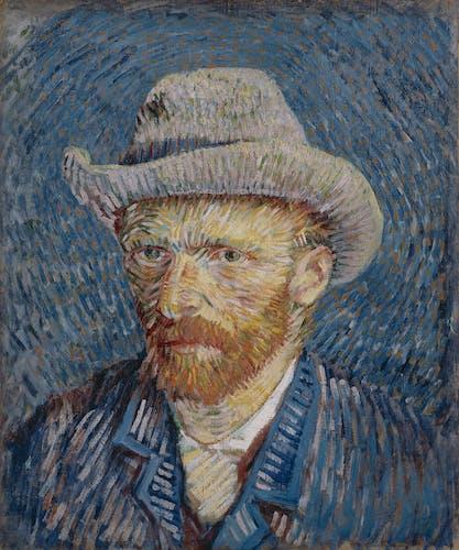 Zelfportret met grijze vilthoed Vincent van gogh 1887 foto Van Gogh Musuem.jpg