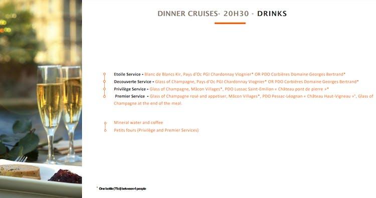 bateaux parisisens dinner cruise drinks.PNG