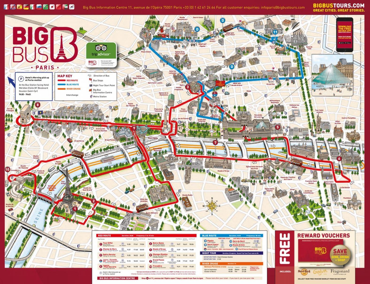 Lopen Tour Paris Map.Big Bus 1 Day Pass And Versailles Audioguide Paris Timings Entry